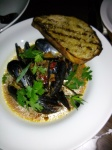 To start: Carlsbad Mussels Aguachile with Grilled House Bread $16. Great sauce. Mussels were fresh and meaty. Couldn't get enough of these bad boys.