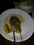 """Marinated and Grilled Pork Satay, Caramelized onion puree, CA Olive Oil, Grilled Lemon, Fennel Pollen $10 A dish meant to be """"shared"""" but all we could get was one nibble because of the portion. Still, the meat was tender and the lemon twist was the perfect touch."""